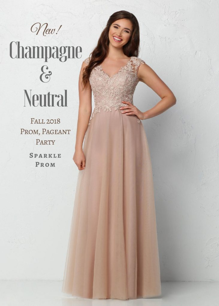 New 2018 Long Champagne Neutral Promparty Dresses Sparkle Prom